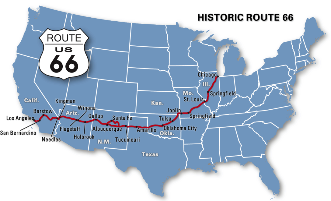Map Of California Route 66.Vegan Route 66 A Vegan Food Journey On Route 66